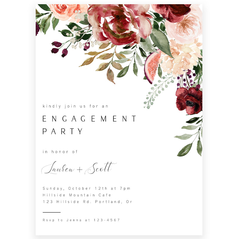 Fall Florals Engagement Invitation| www.foreveryourprints.com