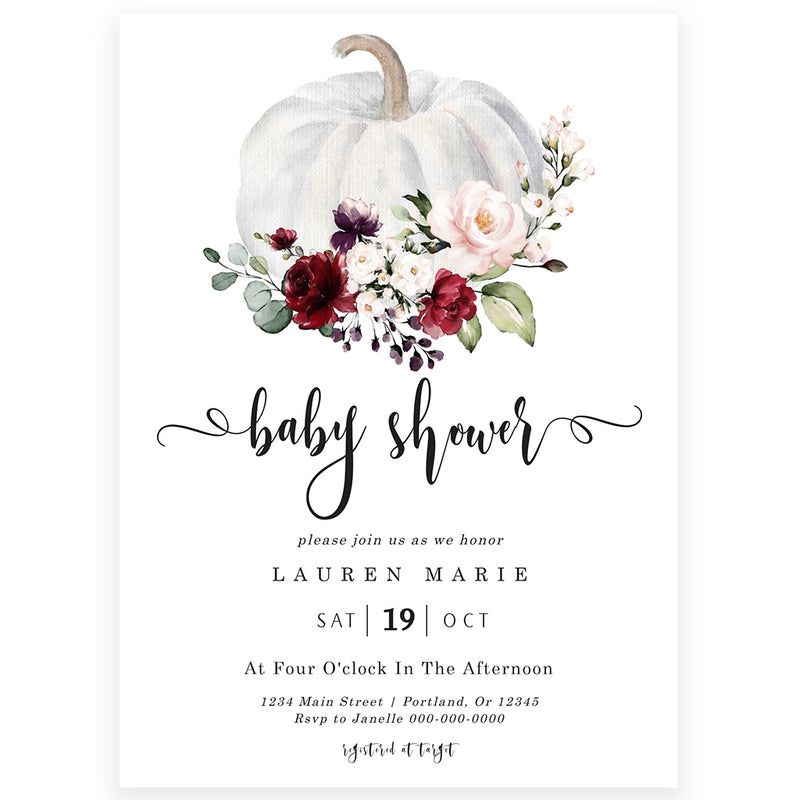 Fall Baby Shower Invitation| www.foreveryourprints.com