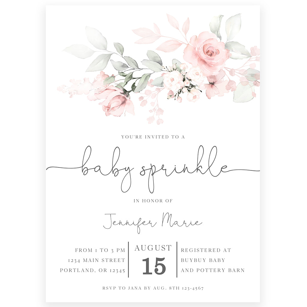 Floral Baby Sprinkle Invitation | www.foreveryourprints.com