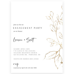 Gold Florals Engagement Party Invitation | www.foreveryourprints.com