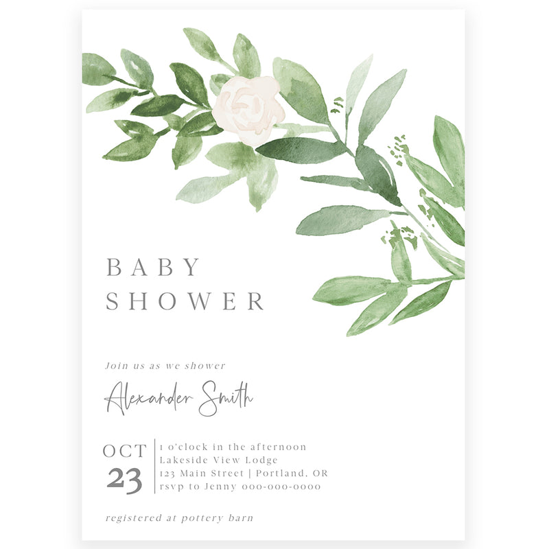 Modern Greenery Baby Shower Invitation | www.foreveryourprints.com