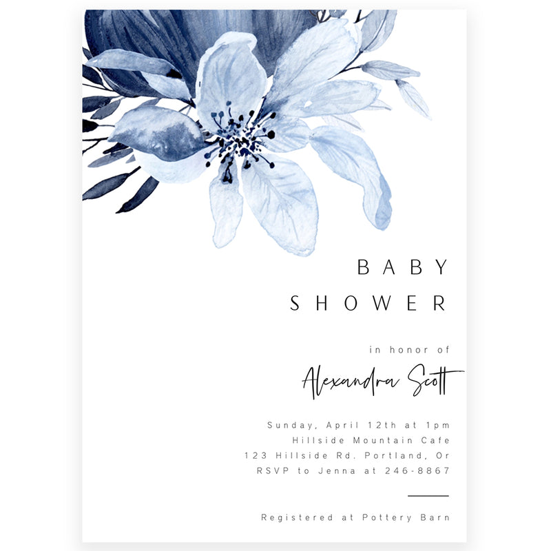 Blue Florals Baby Shower Invitation | www.foreveryourprints.com