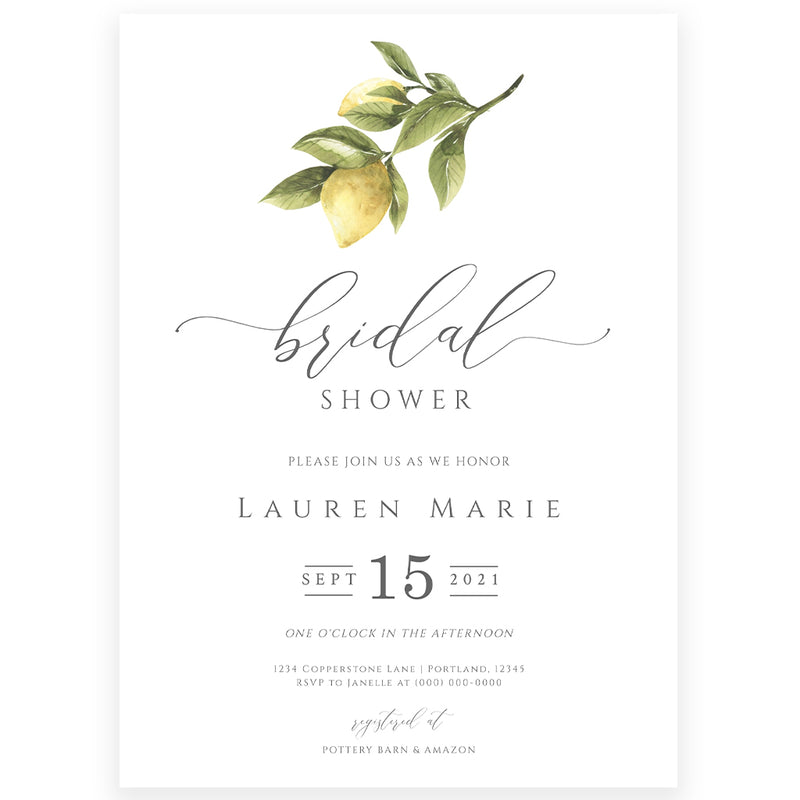 Lemon Bridal Shower Invitation | www.foreveryourprints.com