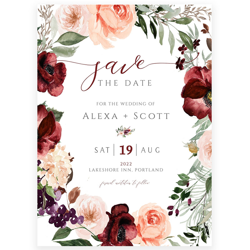 Wreath Save The Date Invitation | www.foreveryourprints.com