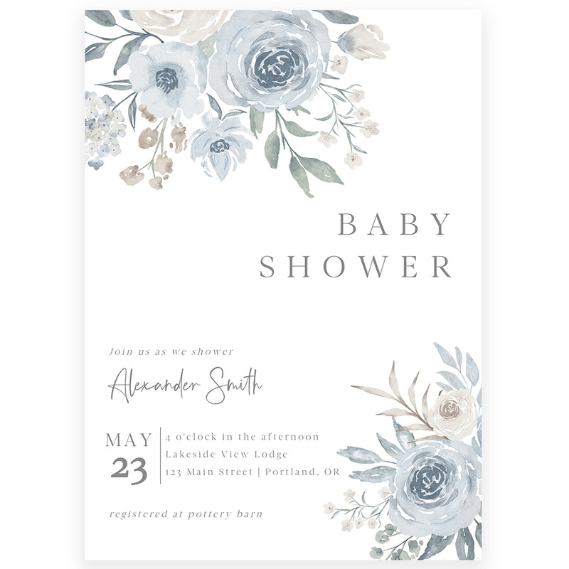 Muted Floral Baby Shower Invitation