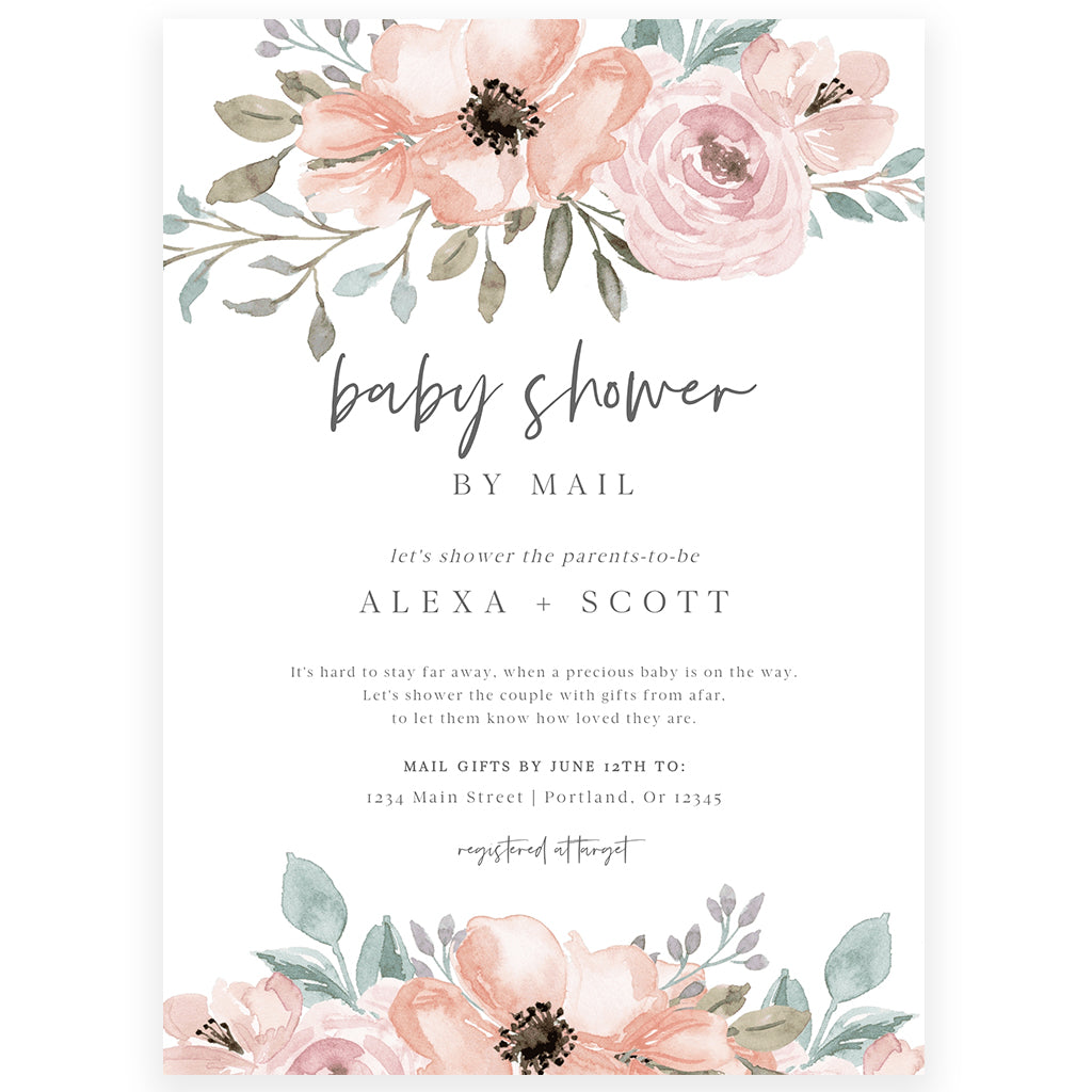 Floral Shower by Mail Invitation | www.foreveryourprints.com