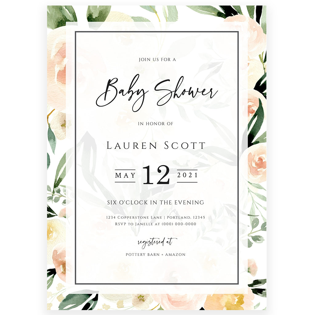 Peach Florals Baby Shower Invitation | www.foreveryourprints.com