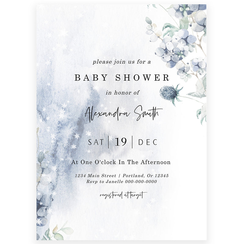 Winter Baby Shower Invitation | www.foreveryourprints.com