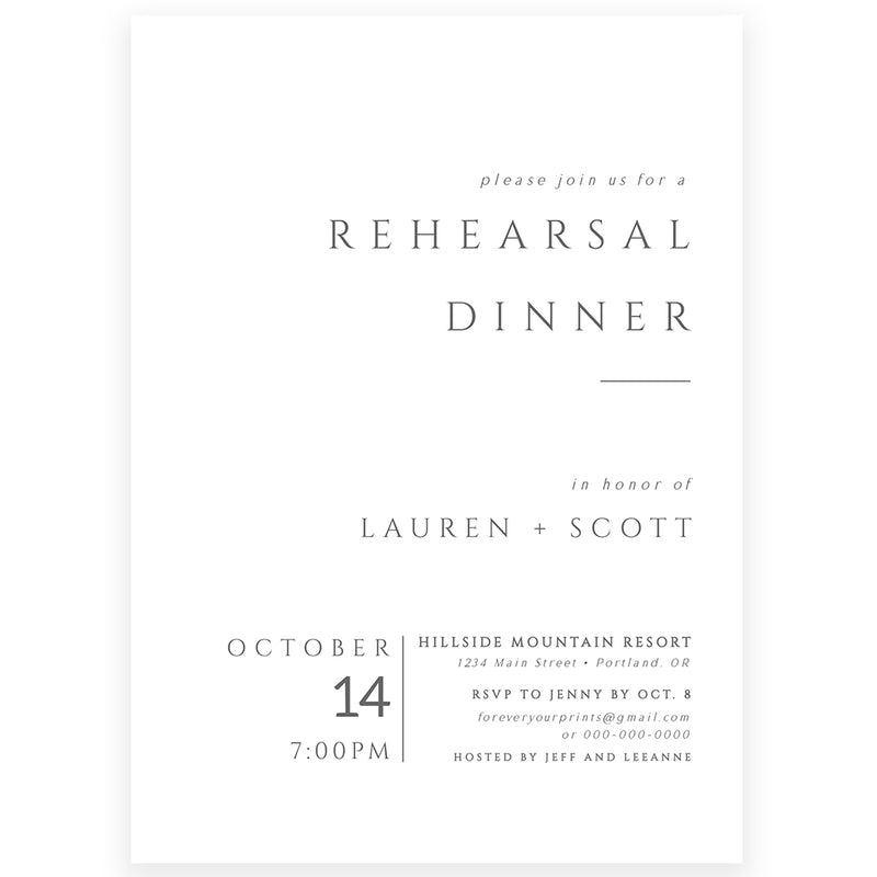 Minimalist Rehearsal Dinner Invitation | www.foreveryourprints.com
