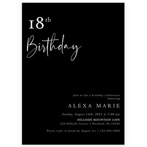 Minimalist 18th Birthday Invitation | www.foreveryourprints.com