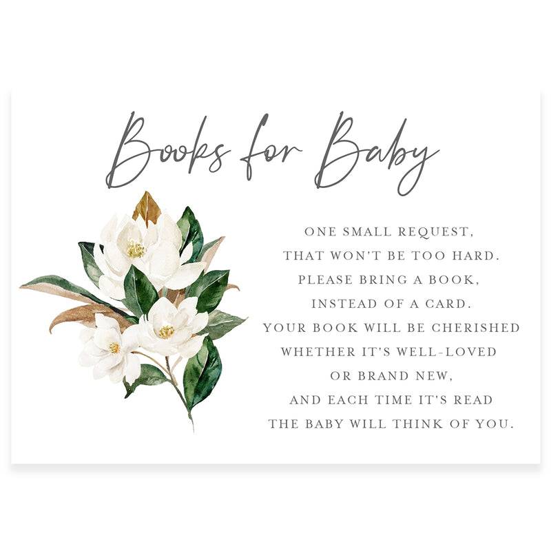Magnolia Florals Book Request Card | www.foreveryourprints.com