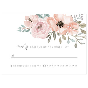 Blush Florals RSVP Reply Card | www.foreveryourprints.com