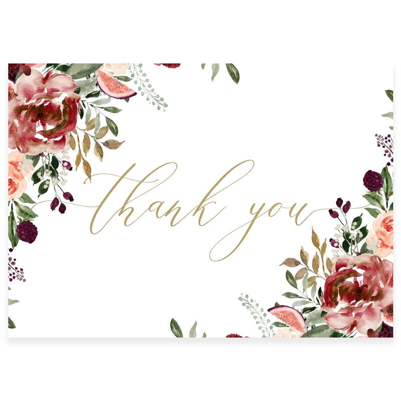 Boho Floral Thank You Card | www.foreveryourprints.com