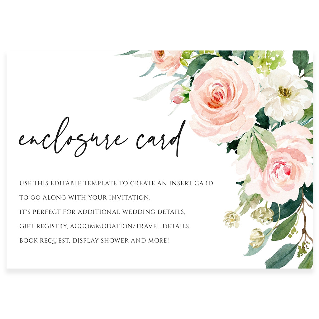 Floral Enclosure Card | www.foreveryourprints.com
