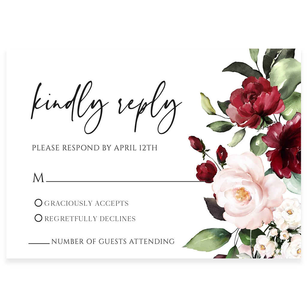 Floral RSVP Reply Card | www.foreveryourprints.com