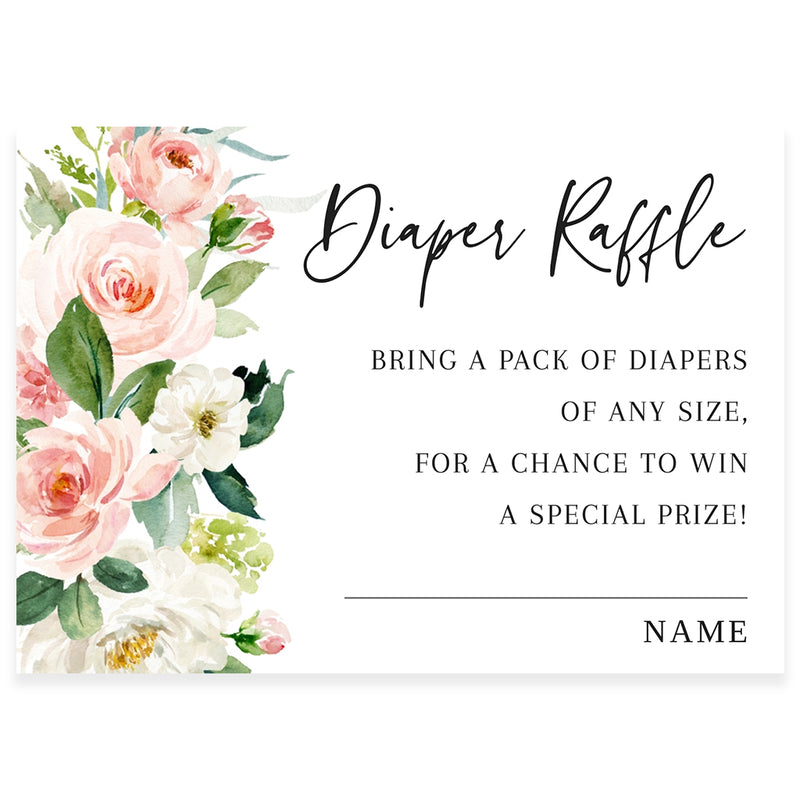 Pink Florals Diaper Raffle Card | www.foreveryourprints.com