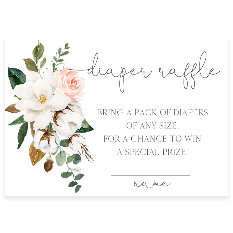 Magnolia Florals Diaper Raffle Card | www.foreveryourprints.com