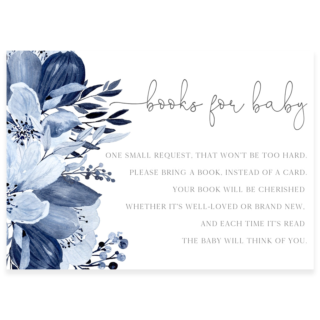 Blue Florals Book Request Card | www.foreveryourprints.com
