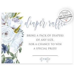 Blue Florals Diaper Raffle Card | www.foreveryourprints.com