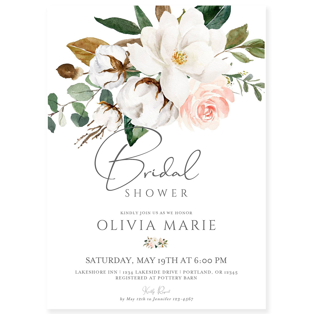 Magnolia Bridal Shower Invitation | www.foreveryourprints.com