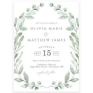 Greenery Wedding Invitation | www.foreveryourprints.com