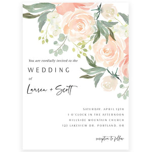 Peach Florals Wedding Invitation | www.foreveryourprints.com