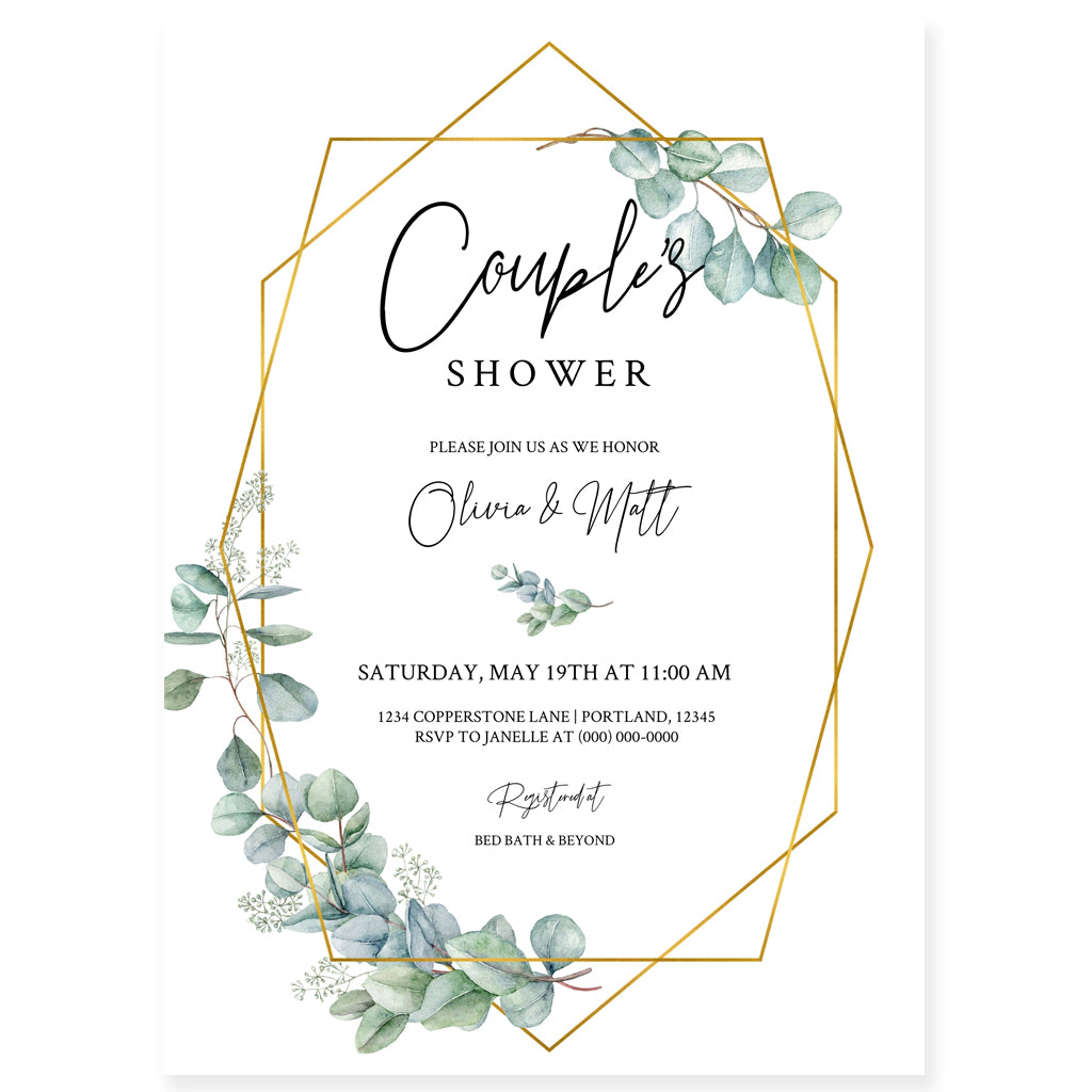 Couples Greenery Bridal Shower Invitation | www.foreveryourprints.com