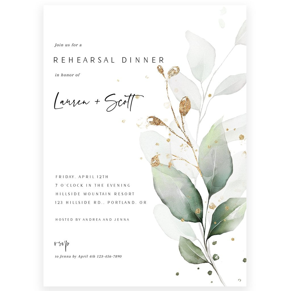 Eucalyptus Wedding Rehearsal Invitation | www.foreveryourprints.com