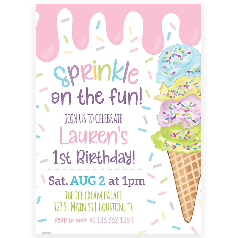 Ice Cream Invitation | www.foreveryourprints.com
