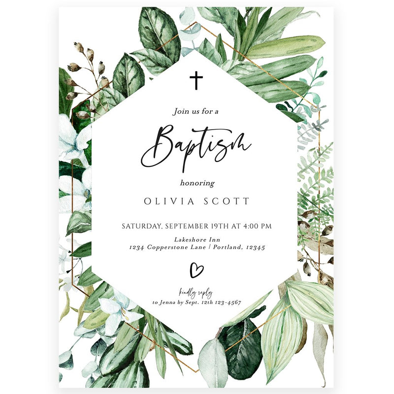 Greenery Baptism Invitation | www.foreveryourprints.com