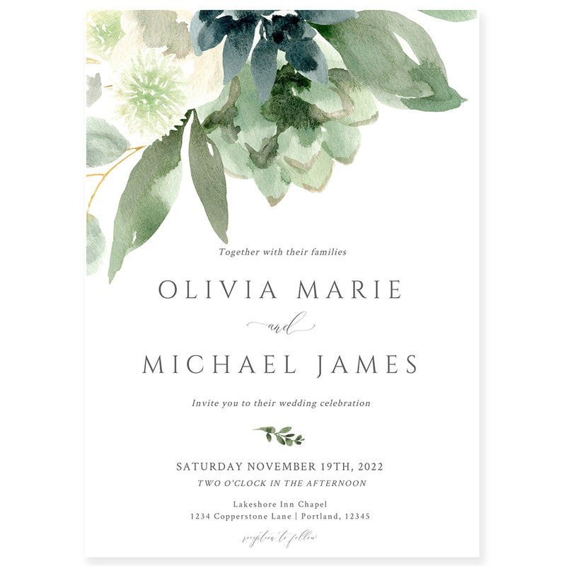 Greenery Florals Wedding Invitation | www.foreveryourprints.com