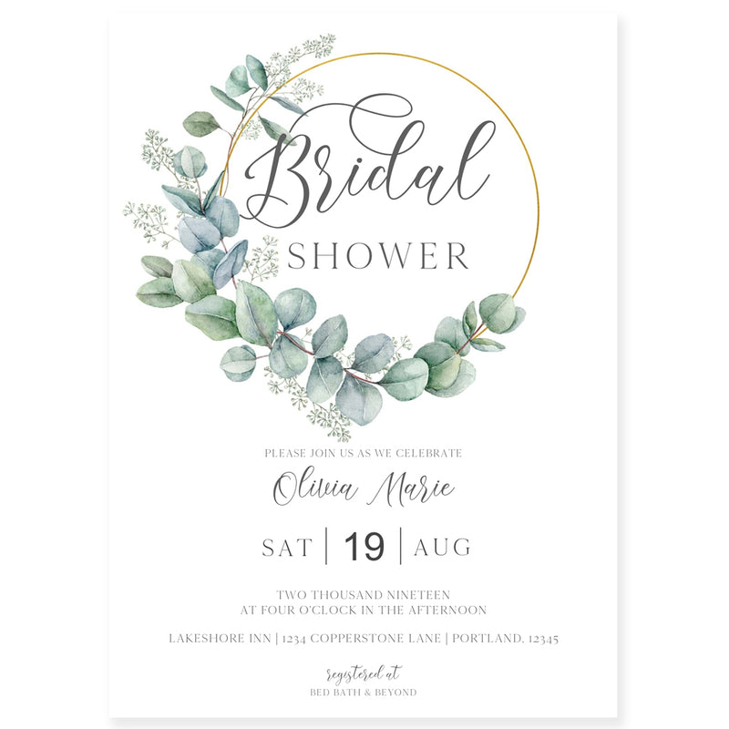 Eucalyptus Bridal Shower Invitation | www.foreveryourprints.com