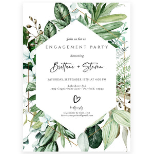 Greenery Engagement Party Invitation | www.foreveryourprints.com