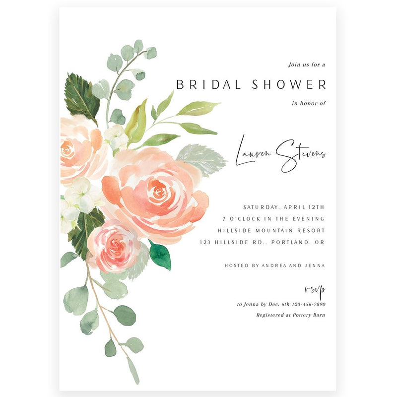 Peach Floral Bridal Shower Invitation | www.foreveryourprints.com