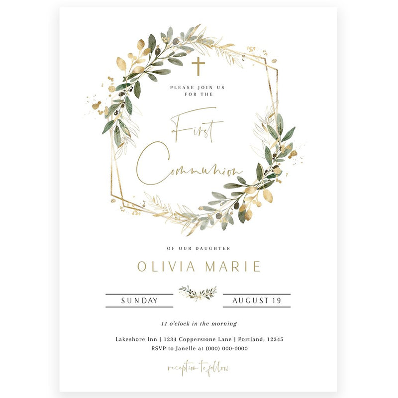 Greenery First Communion Invitation | www.foreveryourprints.com
