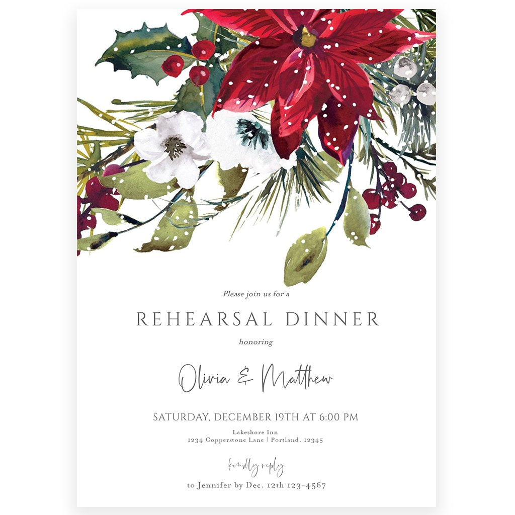 Winter Wedding Rehearsal Invitation | www.foreveryourprints.com