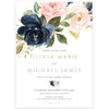 Navy and Blush Floral Wedding Invitation | www.foreveryourprints.com