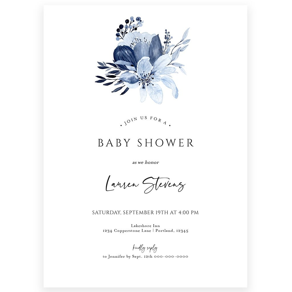 Floral Baby Boy Shower Invitation | www.foreveryourprints.com
