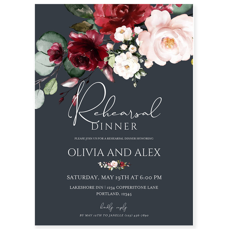 Burgundy and Blush Wedding Rehearsal Dinner Invitation | www.foreveryourprints.com