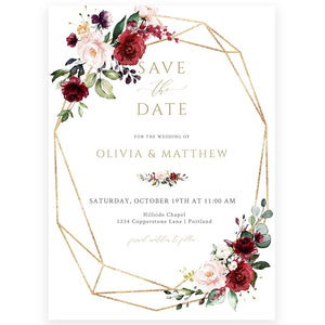 Burgundy Save The Date Invitation | www.foreveryourprints.com