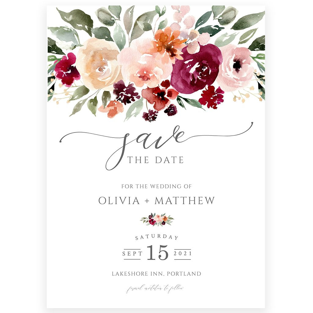 Floral Save The Date Invitation | www.foreveryourprints.com