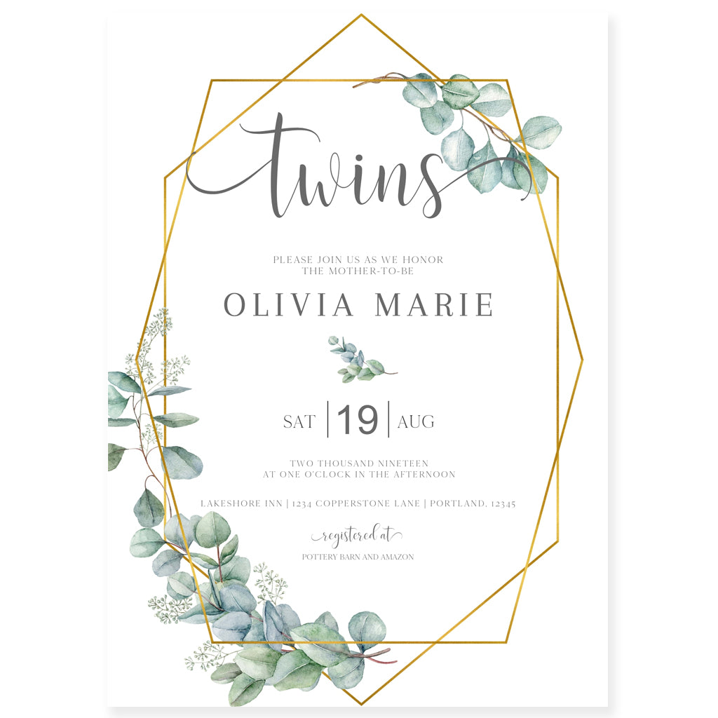 Eucalyptus Twins Shower Invitation | www.foreveryourprints.com