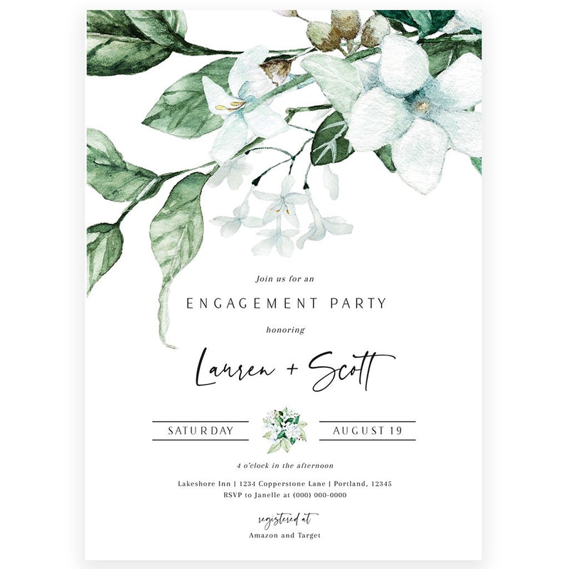 Edit Your Own Engagement Party Invitation with Corjl | www.foreveryourprints.com