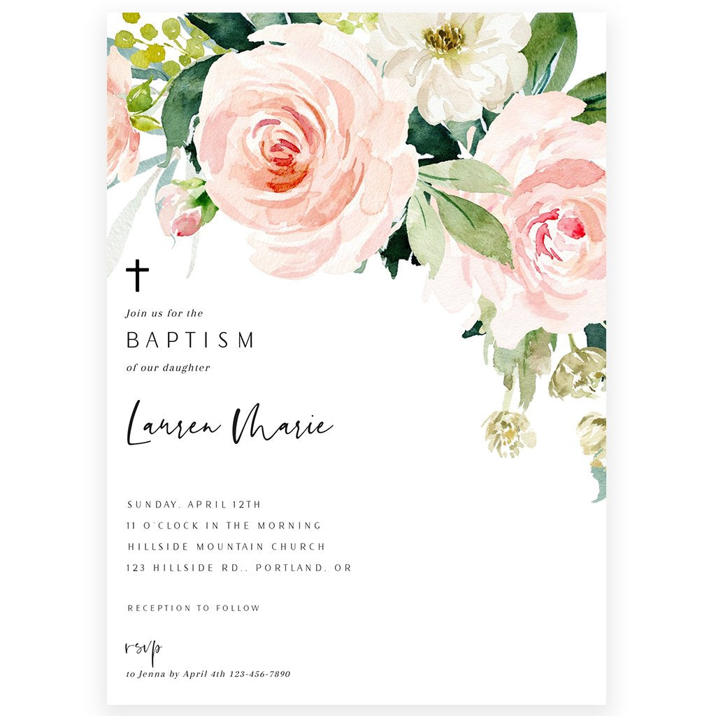 Floral Baptism Invitation | www.foreveryourprints.com