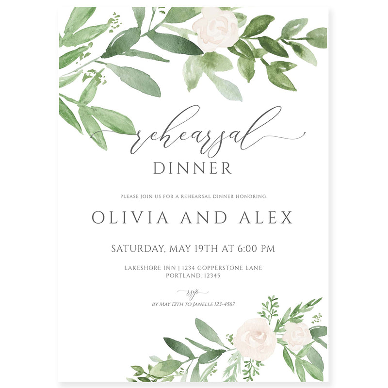 Greenery Rehearsal Dinner Invitation | www.foreveryourprints.com