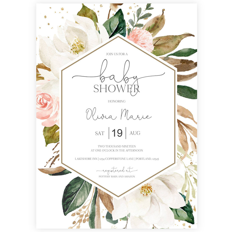 Magnolia Baby Shower Invitation | www.foreveryourprints.com