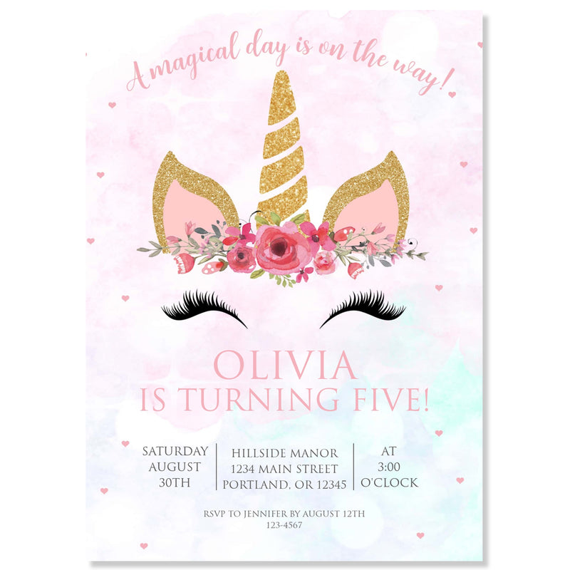Unicorn Birthday Party Invitation | www.foreveryourprints.com