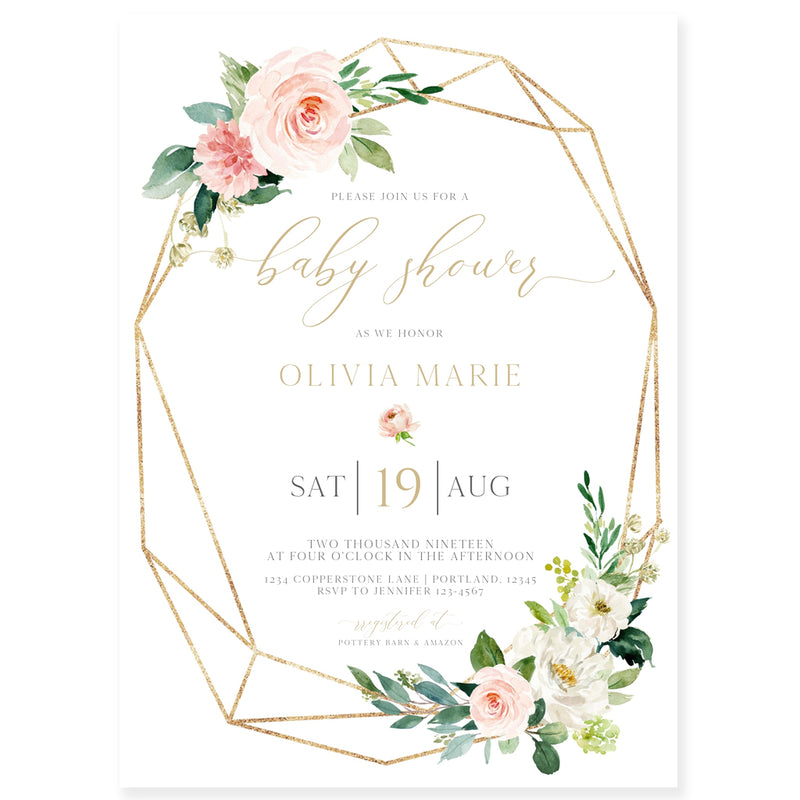Geometric Florals Baby Shower Invitation | www.foreveryourprints.com