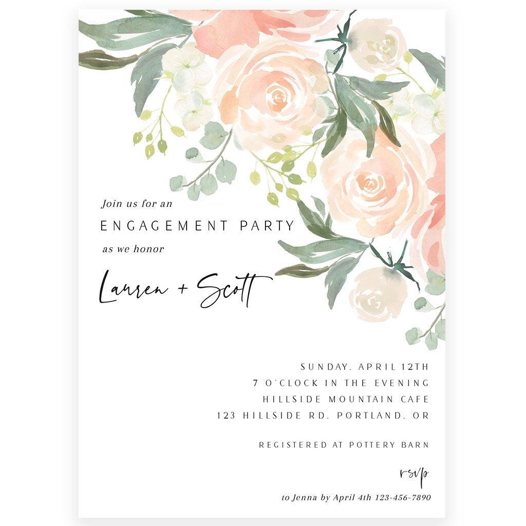 Floral Engagement Invitation | www.foreveryourprints.com