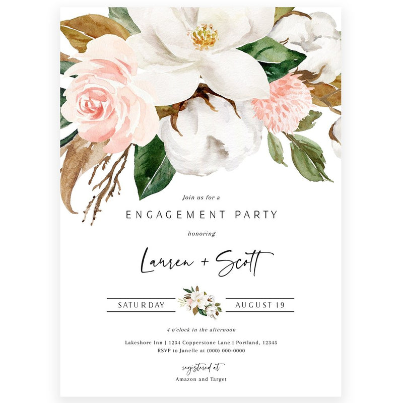 Magnolia Floral Engagement Invitation | www.foreveryourprints.com